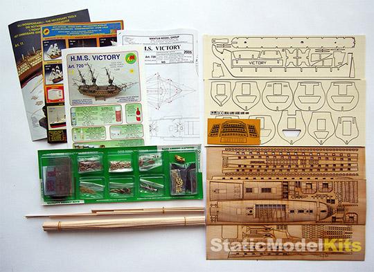 Mantua 720 HMS Victory stavebnice modelu lodi - obsah stavebnice