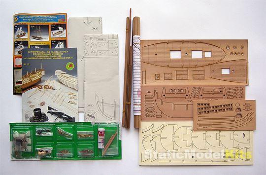 Mantua 756 Nina stavebnice modelu lodi - obsah stavebnice