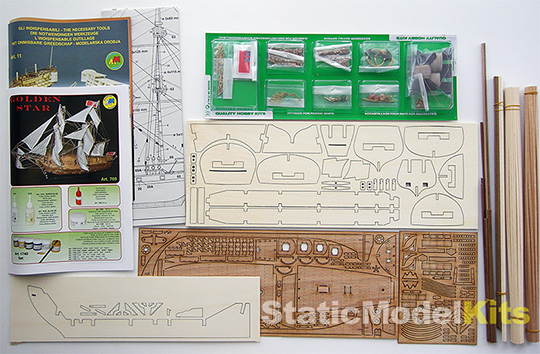 Mantua 769 Golden Star stavebnice modelu lodi - obsah stavebnice