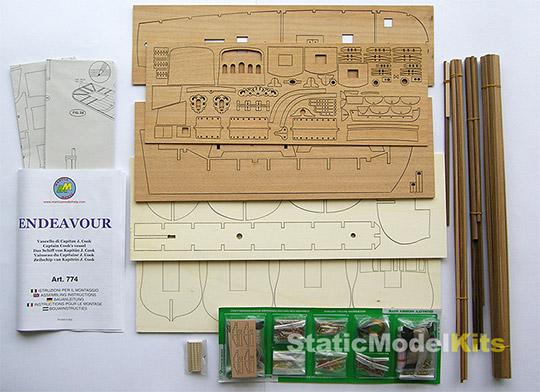 Mantua 774 Endeavour stavebnice modelu lodi - obsah stavebnice