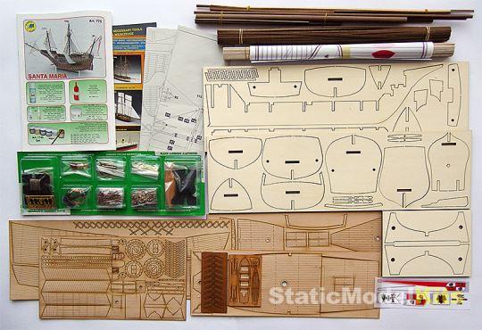 Mantua 7775 Santa Maria stavebnice modelu lodi - obsah stavebnice
